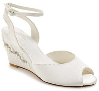 Women's Menbur 'Estela' Ornamented Satin Wedge Sandal $188.95 thestylecure.com