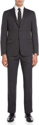 Hickey Freeman Two-Piece Grey Pinstripe Suit