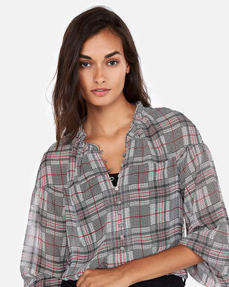 Express Petite Plaid Button Front Blouse