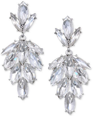Badgley Mischka Silver-Tone Marquise Crystal Cluster Drop Earrings