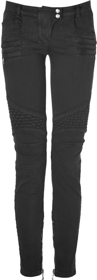 Balmain Black Low Rise Denim Biker Jeans