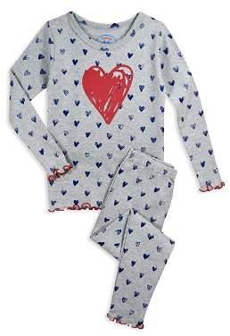 Sara's Prints Girls' Heart Pajama Shirt & Pants Set - Little Kid