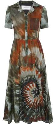 Valentino Tie-Dyed Cotton-Voile Midi Shirt Dress