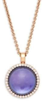 Roberto Coin Diamond, Amethyst Triplet, Lapis Lazuli and 18K Rose Gold Pendant Necklace