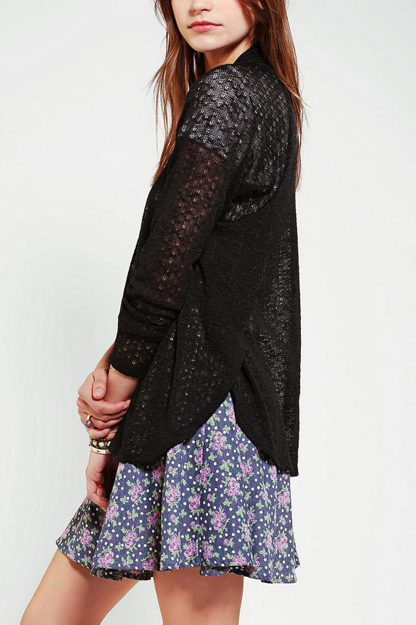 Urban Outfitters Pins And Needles Pointelle Tulip Side Cardigan