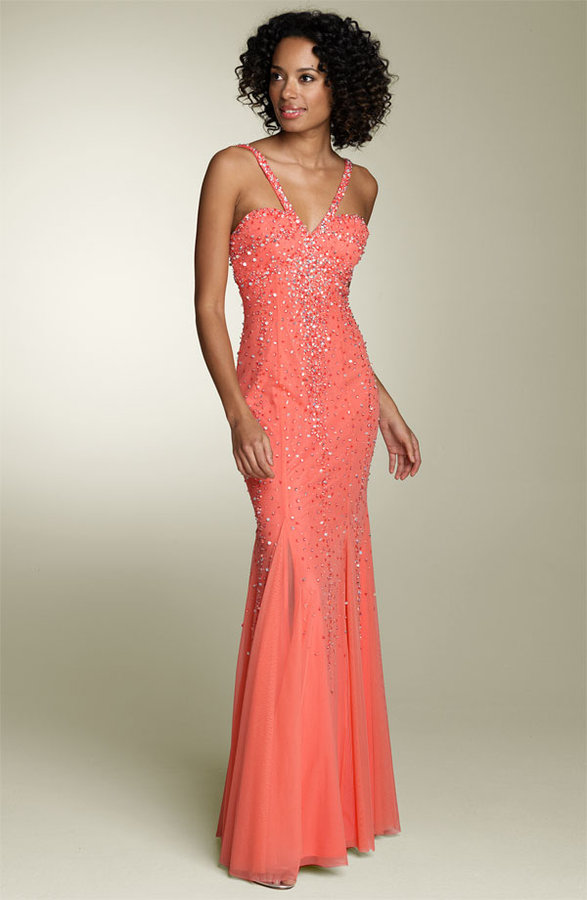 Sean Collection Bead Mesh Gown