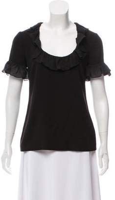 Trina Turk Ruffle Trim Short Sleeve Top