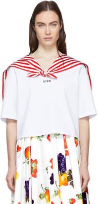 MSGM White Cropped Sailor T-Shirt