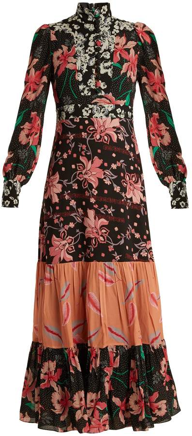 GUCCI Floral patchwork-print stand-collar crepe dress