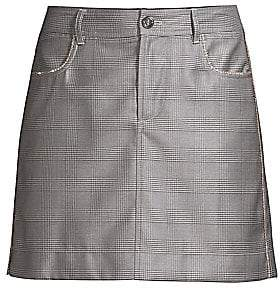 Ganni Women's Silk Wool Suiting Plaid Mini Skirt
