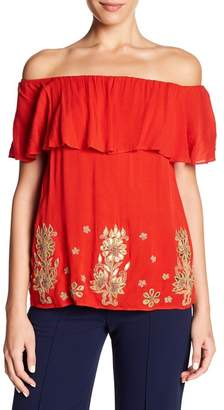 Alice + Olivia Elina Embroidered Off-the-Shoulder Blouse