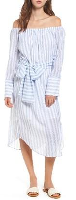 Women's Moon River Stripe Off The Shoulder Shirtdress $90 thestylecure.com