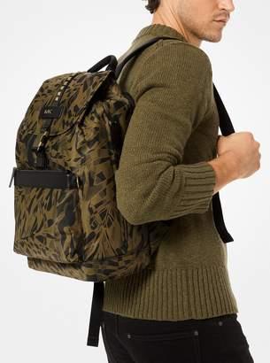 4f1a0b1ab87c36 Michael Kors Kent Camouflage Palm-Print Nylon Backpack