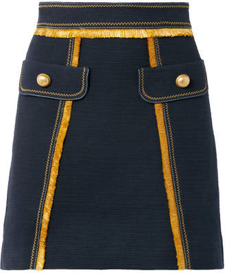 Peter Pilotto Fringed Cotton-blend Mini Skirt - Navy
