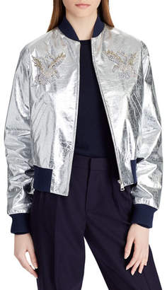 Ralph Lauren Juliet Beaded-Embellished Metallic Lamb Leather Bomber Jacket
