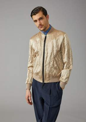 Giorgio Armani Glossy Abraded Satin Bomber With Knit Trims