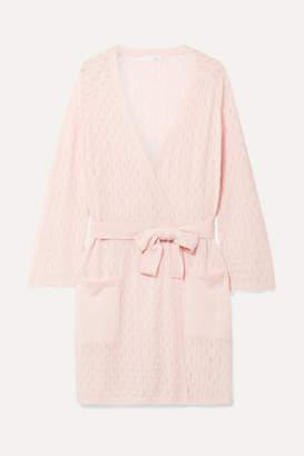 Skin - Malia Pointelle-knit Wool-blend Cardigan - Pastel pink