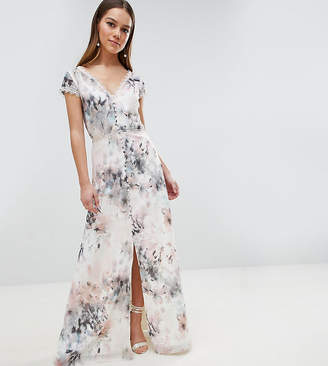Little Mistress Petite Button Through Maxi Dress In Romantic Floral Print