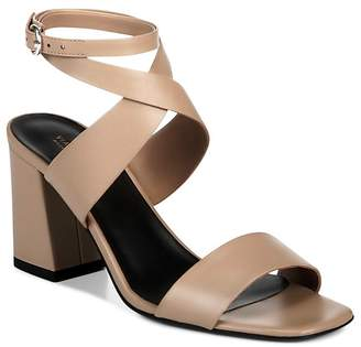 Via Spiga Women's Evelia Ankle-Strap Leather Block Heel Sandals