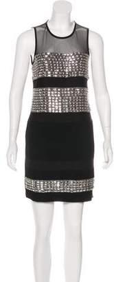 Diane von Furstenberg Wally Square All Over Crystal Mini Dress