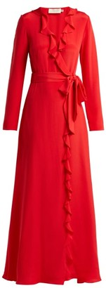 Goat Hollywood Ruffle Trimmed Silk Dress - Womens - Red