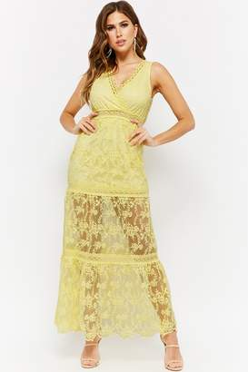 Forever 21 Sheer Mesh Floral Embroidered Surplice Maxi Dress