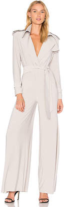 Norma Kamali Trench Elephant Jumpsuit in Light Gray $325 thestylecure.com
