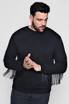 boohoo Big And Tall Tassel Back Sweater