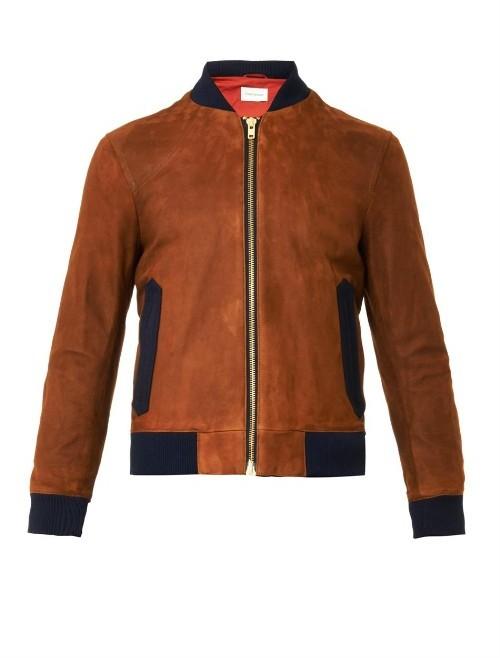 OLIVER SPENCER Bermondsey suede bomber jacket