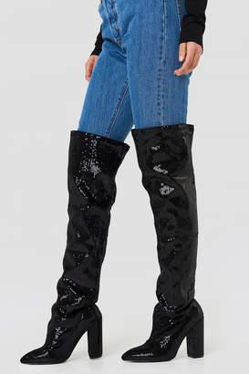 boohoo All Over Sequin Knee Boot Black