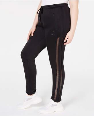 Anthony Logistics For Men La La Trendy Plus Size Mesh Stripe Jogger Pants