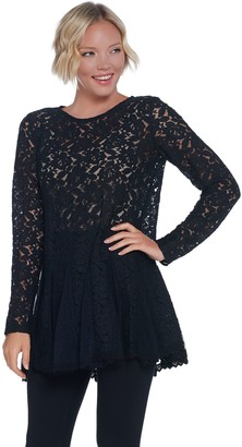 Logo By Lori Goldstein LOGO Lavish by Lori Goldstein Sheer Lace Top with Godets