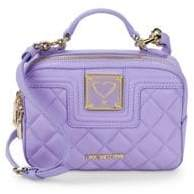 Love Moschino Quilted Faux Leather Mini Top Handle Bag