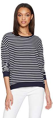 Majestic Filatures Women's French Terry Striped Crew Neck Sweater