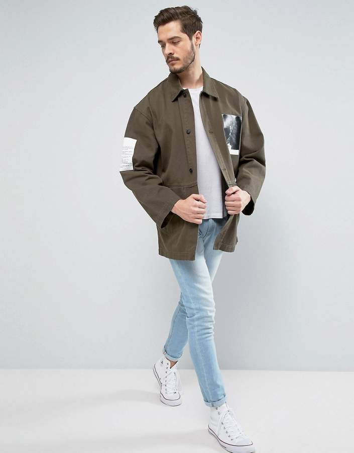 ASOS Denim Worker Jacket With Print Detail In Khaki 4