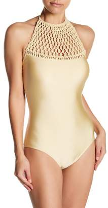 Monroe Marilyn Swim Knot-Net One-Piece Swimsuit (Plus Size Available)