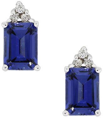 One Kings Lane Vintage 14k Sapphire Diamond Stud Earrings - Raymond Lee Jewelers