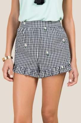 francesca's Mirabel Embroidered Gingham Soft Shorts - Black