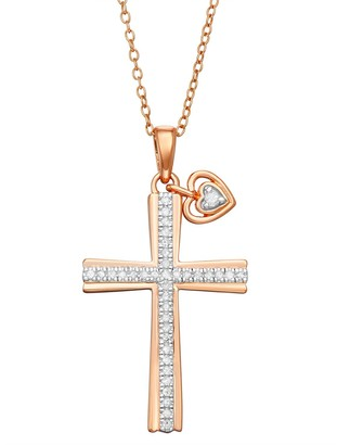 Unbranded Gold Over Sterling Silver Diamond Accent Cross Pendant Necklace