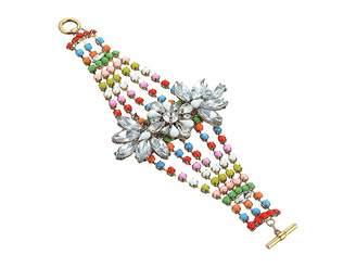 Steve Madden Floral Jeweled Multi Strand Bangle Bracelet