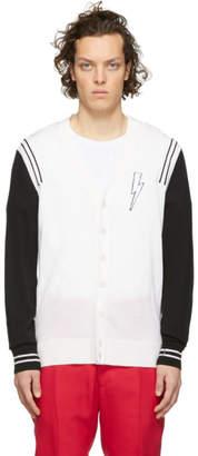 Neil Barrett Black and Off-White Varsity Cardigan