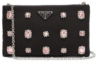 Prada Catene Crystal Embellished Padded Nylon Clutch - Womens - Black Pink