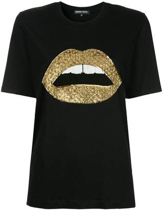 Markus Lupfer sequined lip T-shirt
