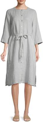 Eileen Fisher Belted Linen-Blend Dress