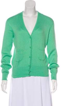 Courreges V-Neck Button-Up Cardigan