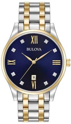 Bulova Men's Diamonds Blue Dial Two Tone Bracelet Watch 98D130