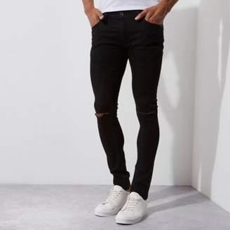 River Island Mens Black ripped super skinny Danny jeans