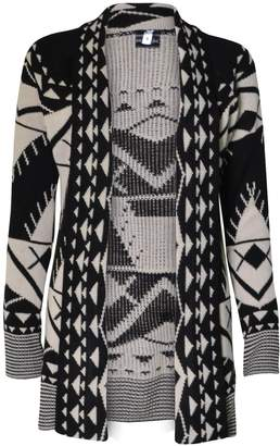 VIP Womens Drape Front Aztec Long Cardigan (Mtc)