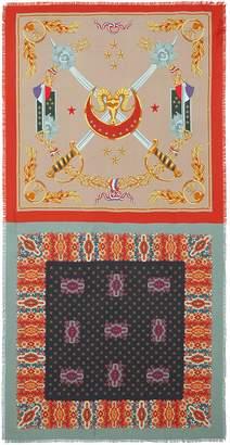 Franco Ferrari Cavalry print silk twill scarf
