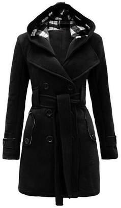 ZHANGZIXUAN Belt Hooded Autumn And Winter Long Coat Women's Coat,-XL